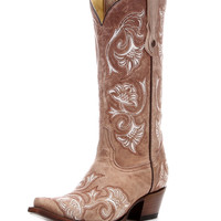 Corral Women's Bone Floral Full Stitch Boot - G1086