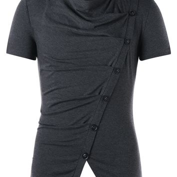 Button Embellished Cowl Neck T-shirt - L