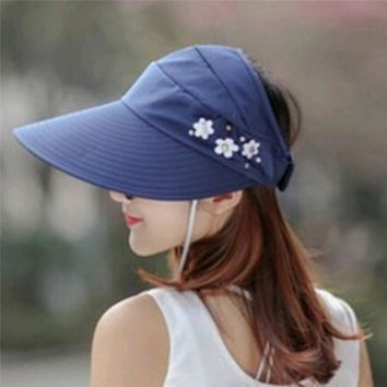 1PCS women summer Sun Hats pearl packable sun visor hat with big heads wide brim beach hat UV protection female cap