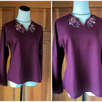 Vintage 70s Bohemian Blouse Flared Sleeves Embroidery Hippie Plum 40 Bust