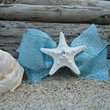 Starfish Mermaid Hair Bow Clip-OCEAN SPARKLE-Mermaid Birthday Party, Starfish Hair, Starfish Accessories, Beach Wedding, Nautical Wedding