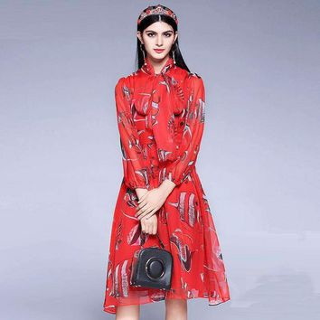Fishes Print Women Cute Dress Full Puff Sleeve Slim Knee Length Red Sweet Dress