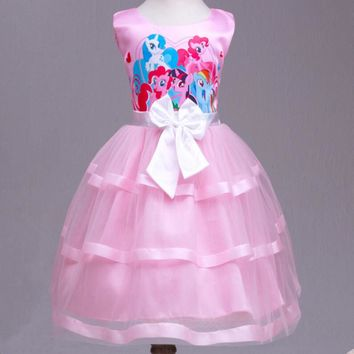 My Little Pony Clothes Girls Sundress Dresses Summer 2016 Girl Princess Maxi Dress Party Bow Kids Formal Dress Birthday Costume