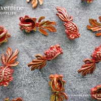 4pcs ∙ Patina 3D Mini Goldfish Charms Koi Red Faux Verdigris Fish Pendant Orange Animal Nautical Jewelry Supplies