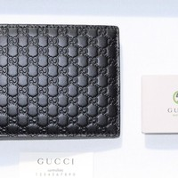 One-nice™ New Gucci Men Wallet GG Microguccissima Bifold Cardholder (Receipt) Black Large