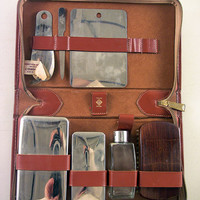 SOLD!  Vintage Cowhide Leather Travel Shaving Kit & Accessories USA