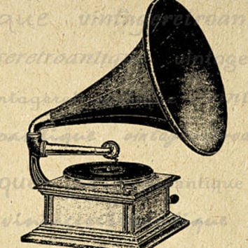 Digital Image Antique Phonograph Graphic Talking Machine Printable Download Vintage Clip Art Jpg Png Eps  HQ 300dpi No.1537