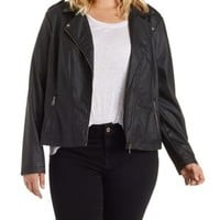 Plus Size Black Faux Leather Moto Jacket by Charlotte Russe