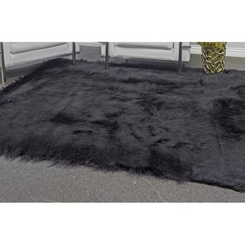 House of Hampton Linden Faux Fur Black Area Rug | Wayfair