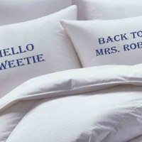 Hello Sweetie, Doctor Who, Tardis, Personalized, Custom,  Pillowcase set, pillowcase, bride, groom, pillowcases, wedding gift