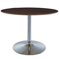 Rostrum Round Dining Table Walnut Wood / Chrome 43""