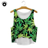 2018 New Women T Shirt Weed Leaf Tanks Camis Crop Tops Emoji / Girl Print Galaxy T-shirt Female Casual Tee Tops For Women Blusas