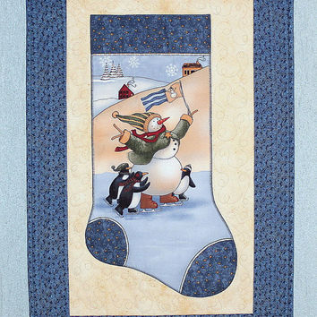 Christmas Wall Hanging, Quilted Snowman Wall Decor, Christmas Stocking, Blue Wall Hanging, Door Banner, Whimsical Wall Decor