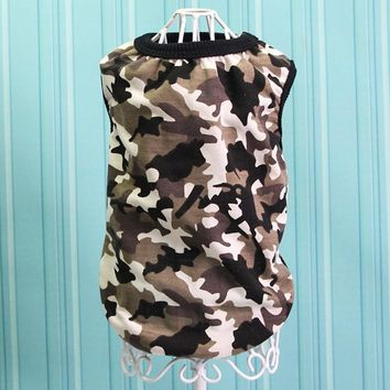 Camo Pet Dog Cat T Shirt Dog Vests Summer Clothes Breathable Cotton Apparel Puppy Cat Dog Sports Clothes Dog Supplies