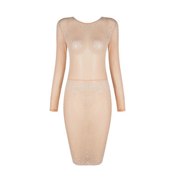 Glitter Girl Nude Mesh Midi Dress