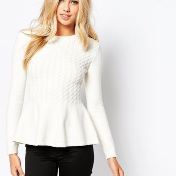 Ted Baker Mereda Cable Knit Peplum Jumper