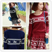 New Women's Fashion Casual Deer Pattern Suit Sets 2 Pieces Warm Knit Sweater+ Knit Skirt Christmas Dresses = 1945944196