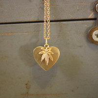 Weed Lover Brass Charms on a Gold plated Chain