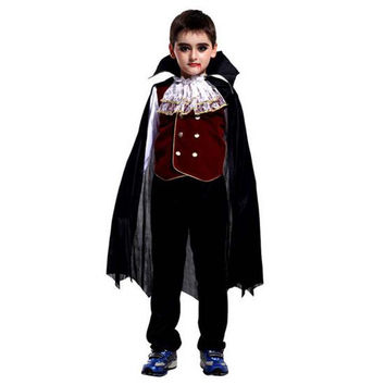 Vampire Costume for Boys Kids Halloween Costume Vampire Count Dracula Set Children's Cosplay Clothes
