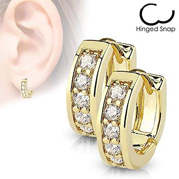 Pair of Channel Set CZ Half Circle WildKlass Hoop Earrings 316L Surgical Steel Post