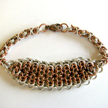 Chunky Bracelet, Chunky Chainmaille Bracelet, Women's Jewelry, Reclaimed Materials, Rustic Jewelry, Rustic Bracelet, Fall Gifts, Gift Ideas