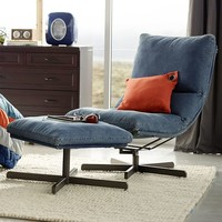 Denim Maverick Swivel Lounge Chair & Ottoman