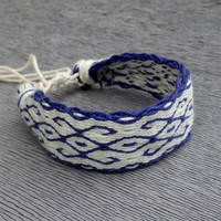 cotton men bracelet, card weaving blue white friendship braclet, weave native wrist band, woven handmade jewelry, women arm band, bracalet