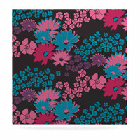 "Zara Martina Mansen ""Berry Color Bouquet"" Teal Pink Luxe Square Panel"
