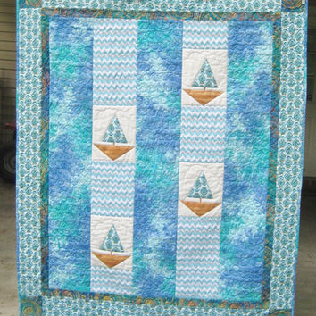 Christmas in July 20% Off Sailboats Paisley and Blue Waters Quilt, Picnic Blanket, Beach Blanket, Stadium Blanket, Wheelchair Throw