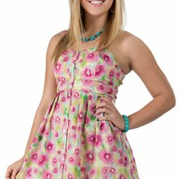 Tin Haul® Women's Yellow and Pink Floral Button Front Sleeveless Dress