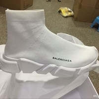 balenciaga sock sport running good quality red yellow speed trainer casual shoe man woman sock shoes sneakers boots with box stretch knit casual boots race runner cheap sneaker high top 2