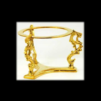 Dragon Crystal Ball Stand Gold-Toned Plated Brass