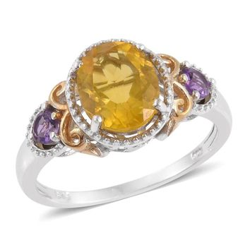 Vibrant Fluorite and Amethyst Statement Ring