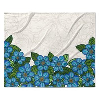"Art Love Passion ""Blue Flower Field"" Beige Blue Fleece Throw Blanket"