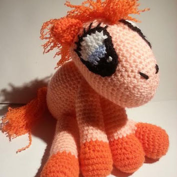 Crochet Pony, Stuffed Pony, Stuffed Animal, Stuffed Toy