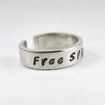 Free Spirit Ring, Message Cuff Ring, Customized And Personalized Gift Ring