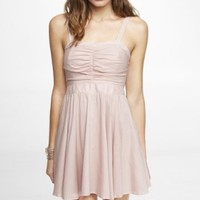 RUCHED FIT AND FLARE DRESS