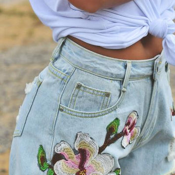 'Hendrix' Embroidered Denim Shorts
