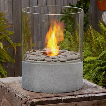 Hughson Fire Column, Cast Concrete, Lava Rock and Tempered Glass Modern Fireplace for Indoors or Out - Pure Modern Design Contemporary Accessories