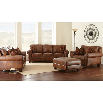 Steve Silver Company SR910L Silverado Caramel Brown Loveseat with Two Accent Pillows