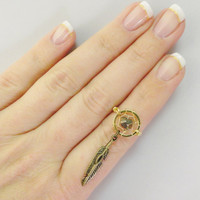 Gold Dream Catcher Ring with Gold Pyrite Fools Gold