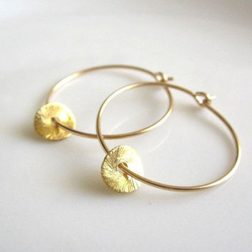 Gold Disc Hoop Earrings, tiny brushed gold disc, simple modern everyday wear