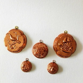 Set of 5, copper vintage, molds, french kitchen, kitchen decor, wall hanging, wall decor, retro kitchen, copper wall decor, home decor