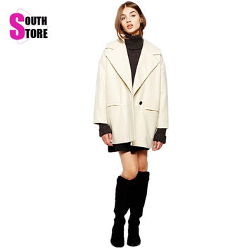 Southstore 2016 Cream Winter Coat Women Wool Blends Poncho Overcoat Double Breasted Large Notch Lapels Jacket Casacos Femininos