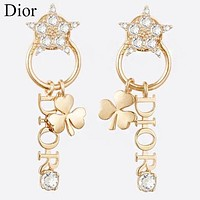 Dior Hot Sale Women Delicate Star Diamond Clover Pendant Earrings Accessories Jewelry