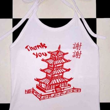 SWEET LORD O'MIGHTY! CHINESE TAKE OUT HALTER IN WHITE