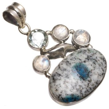 """Natural Blue Azurite,Rainbow Moonstone and Blue Topaz 925 Sterling Silver Pendant 1 1/2"""" T0684"""
