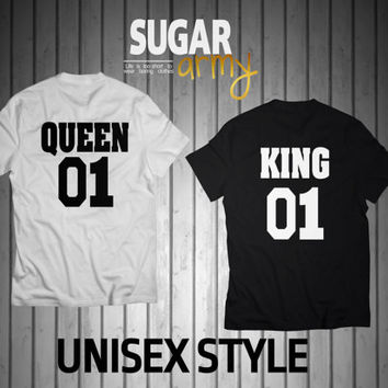 King and Queen shirts, king queen shirts, King 01 Queen 01, Queen and King t shirts, husband and wife shirts, couple shirts, love shirts