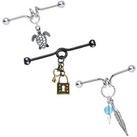 Dangling Icons Industrial Barbell 3 Pack MADE WITH SWAROVSKI ELEMENTS | Body Candy Body Jewelry