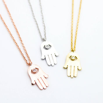 Hamsa eye necklace